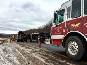 Tractor Trailer Rollover Snarls Interstate Traffic
