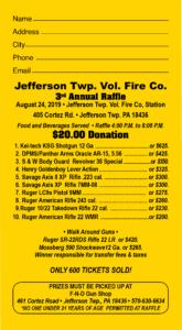 CANCELLED - Sportsmen's Raffle @ Jefferson Township Fire Company | Mount Cobb | Pennsylvania | United States